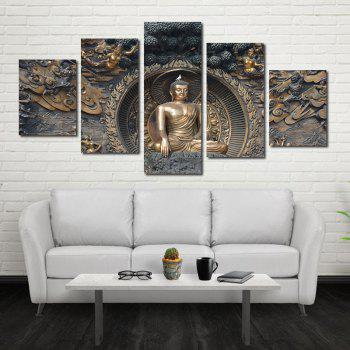 Framless Buddha Statue Neutral Canvas Print Wall Art Decoration 5PCS - COLORFUL 12 X 35 INCH (30CM X 90CM)