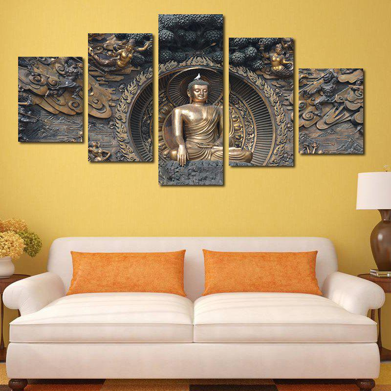 Framless Buddha Statue Neutral Canvas Print Wall Art Decoration 5PCS - COLORFUL 8 X 24 INCH (20CM X 60CM)