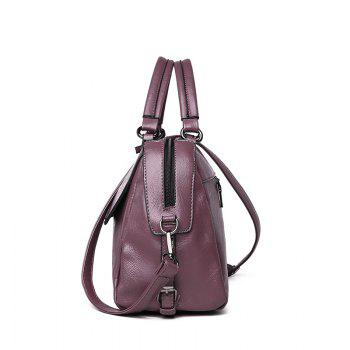 PU Leather Lady Handbag Luxury Designer Shoulder Messenger Bag -  PURPLE