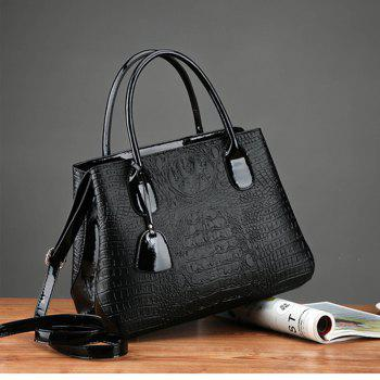 PU Leather Lady Handbag Fashion Style Shoulder Messenger Bag -  BLACK