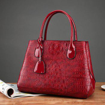 PU Leather Lady Handbag Fashion Style Shoulder Messenger Bag - WINE RED