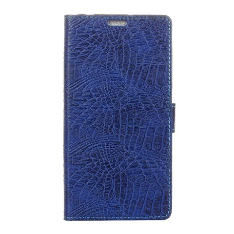 Wkae Retro Crocodile Pattern Business Leather Case for Wiko View - BLUE