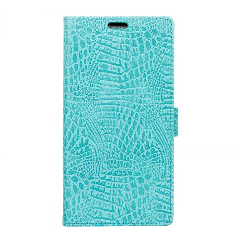 Wkae Retro Crocodile Pattern Business Leather Case for Wiko View - GREEN