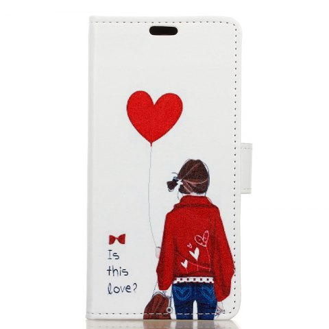 Wkae Vintage Classic Denim Texture Leather Case for Huawei Mate 10 Pro - RED/WHITE