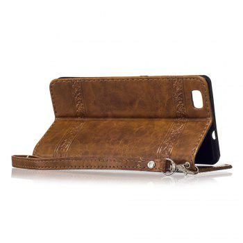 Genuine Quality Retro Style Oil Wax Flower Pattern Flip PU Leather Wallet Case for Huawei P8 Lite - BROWN