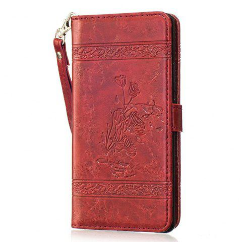 Genuine Quality Vintage Style Oil Wax Flower Pattern Flip PU Leather Wallet Case for Huawei P9 Lite - RED