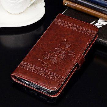 Genuine Quality Retro Style Oil Wax Flower Pattern Flip PU Leather Wallet Case for Huawei P9 Lite - WINE RED