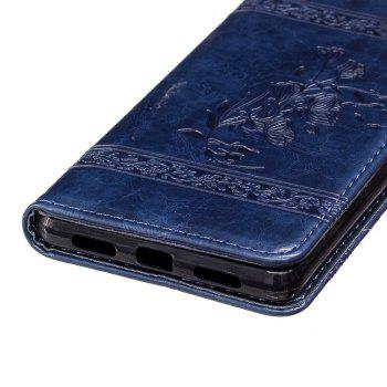 Genuine Quality Retro Style Oil Wax Flower Pattern Flip PU Leather Wallet Case for Huawei P9 Lite - BLUE
