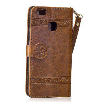 Genuine Quality Retro Style Oil Wax Flower Pattern Flip PU Leather Wallet Case for Huawei P9 Lite - BROWN