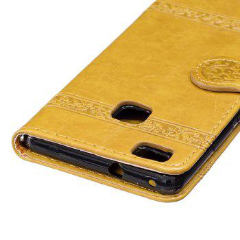 Genuine Quality Retro Style Oil Wax Flower Pattern Flip PU Leather Wallet Case for Huawei P9 Lite - GOLDEN