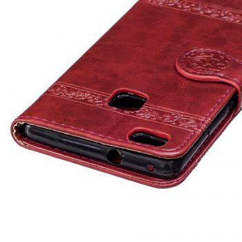 Genuine Quality Retro Style Oil Wax Flower Pattern Flip PU Leather Wallet Case for Huawei P9 Lite - RED