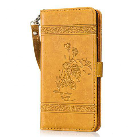 Genuine Quality Retro Style Oil Wax Flower Pattern Flip PU Leather Wallet Case for Sony Xperia XA - GOLDEN
