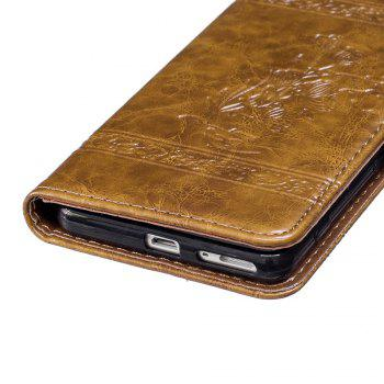 Genuine Quality Retro Style Oil Wax Flower Pattern Flip PU Leather Wallet Case for Sony Xperia XA - BROWN
