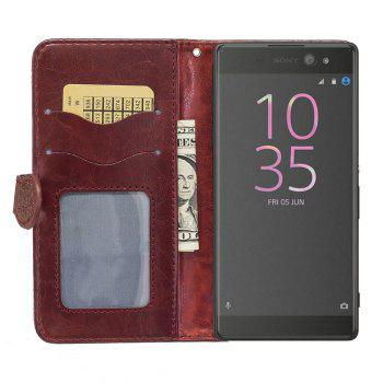 Genuine Quality Retro Style Oil Wax Flower Pattern Flip PU Leather Wallet Case for Sony Xperia XA - WINE RED
