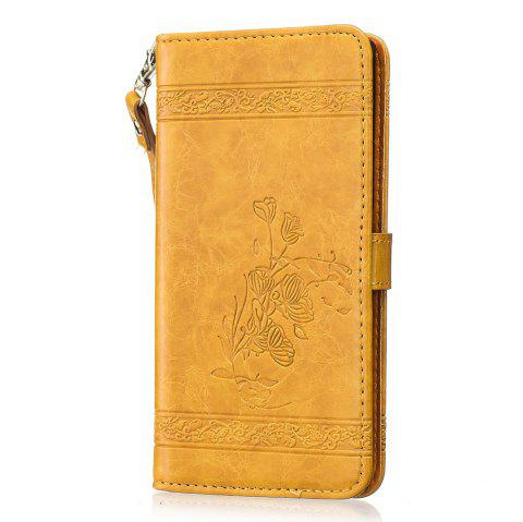 Genuine Quality Retro Style Oil Wax Flower Pattern Flip PU Leather Wallet Case for Sony Xperia XZ - GOLDEN