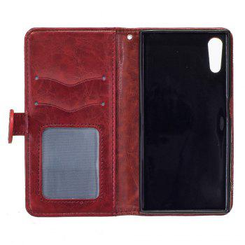Genuine Quality Retro Style Oil Wax Flower Pattern Flip PU Leather Wallet Case for Sony Xperia XZ - RED