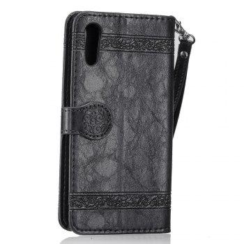 Genuine Quality Retro Style Oil Wax Flower Pattern Flip PU Leather Wallet Case for Sony Xperia XZ - BLACK