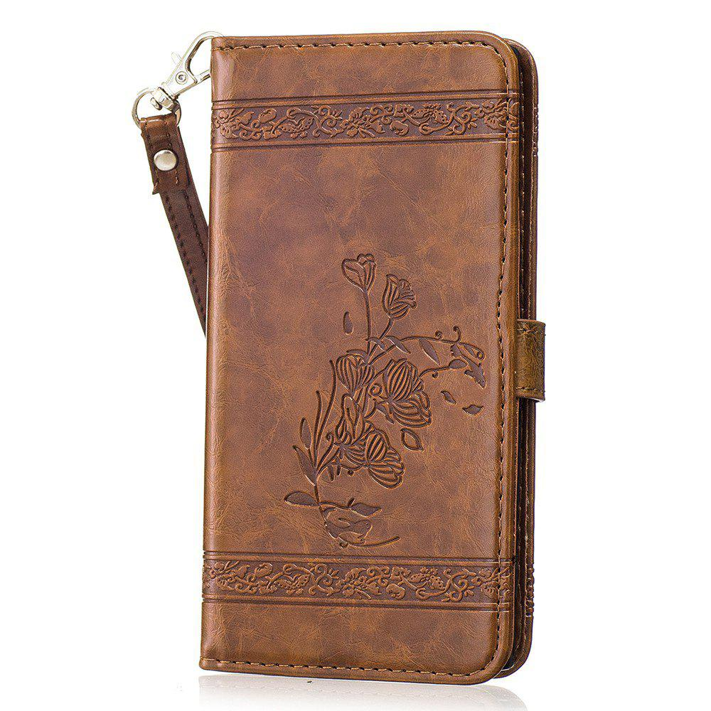 Genuine Quality Retro Style Oil Wax Flower Pattern Flip PU Leather Wallet Case for Sony Xperia XZ - BROWN