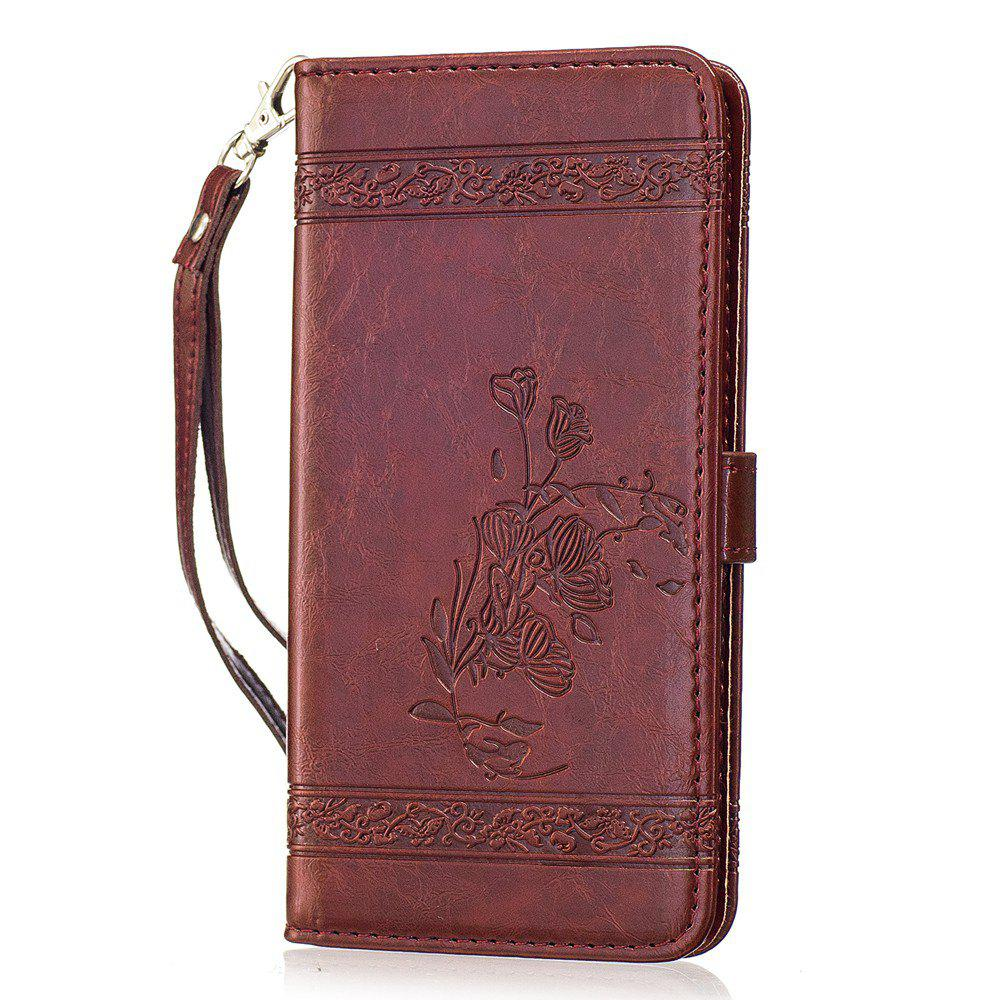 Genuine Quality Retro Style Oil Wax Flower Pattern Flip PU Leather Wallet Case for Sony Xperia XZ - WINE RED