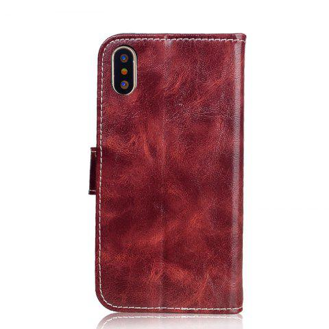 Durable Oil Wax Pattern Flip PU Leather Wallet Case for iPhone X - WINE RED
