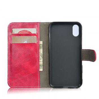Durable Oil Wax Pattern Flip PU Leather Wallet Case for iPhone X - RED