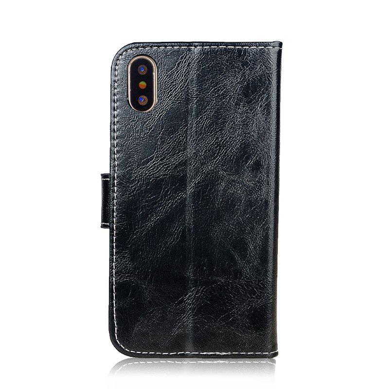 Durable Oil Wax Pattern Flip PU Leather Wallet Case for iPhone X - BLACK