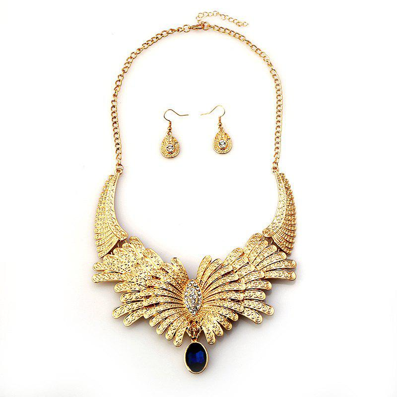 Fashion Big Diamond Drop Earrings Necklace Set with Jewels - GOLDEN