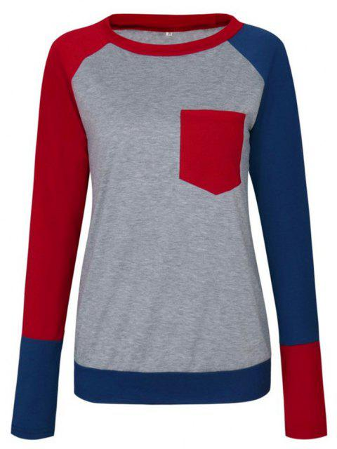 Round Necklace Long Leeve Pocket T-shirt - RED L