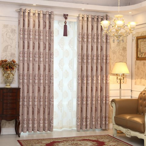 European Minimalist Style living Room Bedroom Jacquard Curtains Grommet - PURPLE 2X(42W×96L)