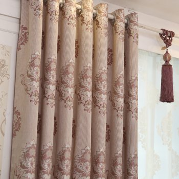 European Minimalist Style living Room Bedroom Jacquard Curtains Grommet - PURPLE 2X(42W×84L)