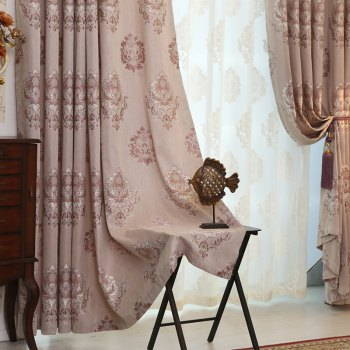 European Minimalist Style living Room Bedroom Jacquard Curtains Grommet - PURPLE 2X(57W×96L)