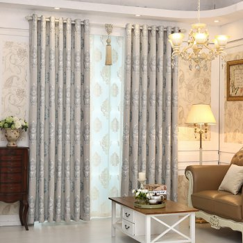 European Minimalist Style living Room Bedroom Jacquard Curtains Grommet - GRAY GRAY