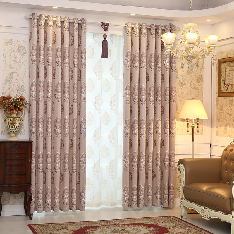 European Minimalist Style living Room Bedroom Jacquard Curtains Grommet - PURPLE 2X(42W×63L)