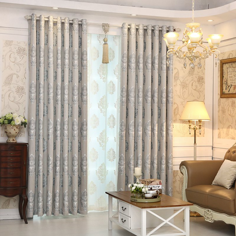 European Minimalist Style living Room Bedroom Jacquard Curtains Grommet - GRAY 2X(57W×96L)