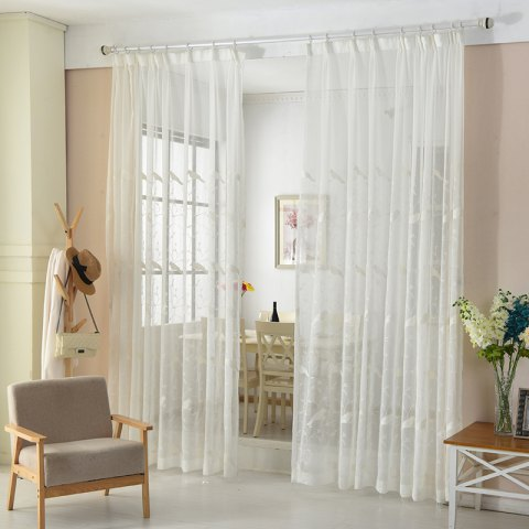 European Minimalist Style Bedroom Restaurant Embroidered Curtains - WHITE 2X(42W×96L)