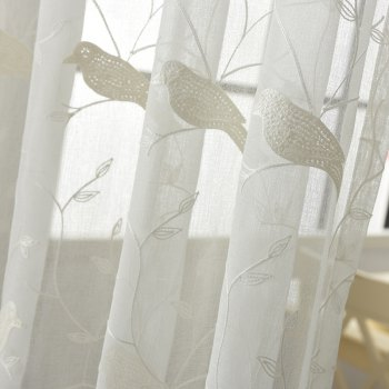 European Minimalist Style Bedroom Restaurant Embroidered Curtains - WHITE 2X(42W×63L)