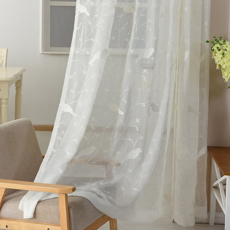 European Minimalist Style Bedroom Restaurant Embroidered Curtains - WHITE 2X(90W×72L)