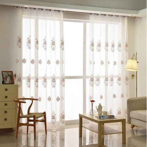 European Minimalist Style Restaurant Embroidered Curtains Grommet - COFFEE 2X(90W×90L)