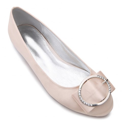 5049-31Women's Shoes Wedding Shoes Flat Heel - CHAMPAGNE 40
