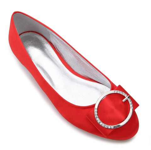 5049-31Women's Shoes Wedding Shoes Flat Heel - RED 36
