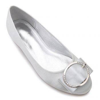 5049-31Women's Shoes Wedding Shoes Flat Heel - SILVER SILVER