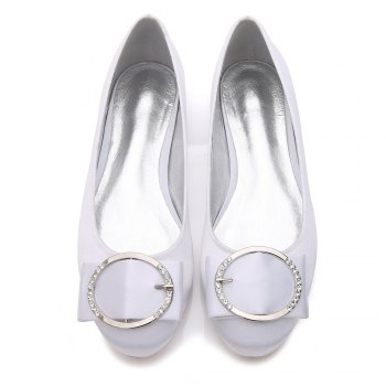 5049-31Women's Shoes Wedding Shoes Flat Heel - WHITE 40