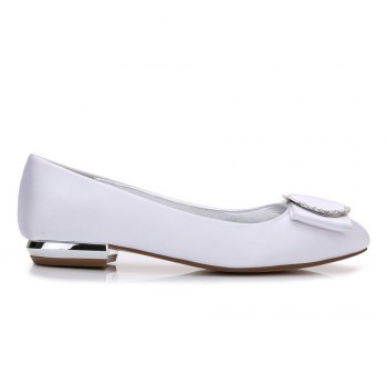 5049-31Women's Shoes Wedding Shoes Flat Heel - WHITE WHITE