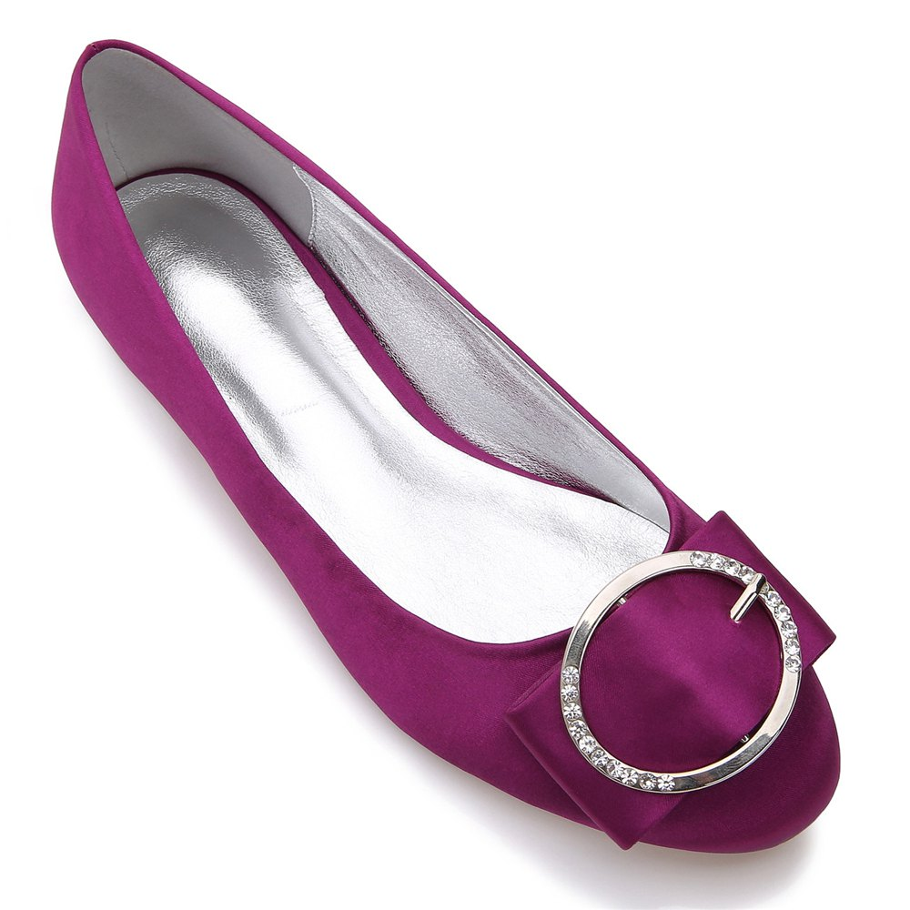 5049-31Women's Shoes Wedding Shoes Flat Heel - PURPLE 39