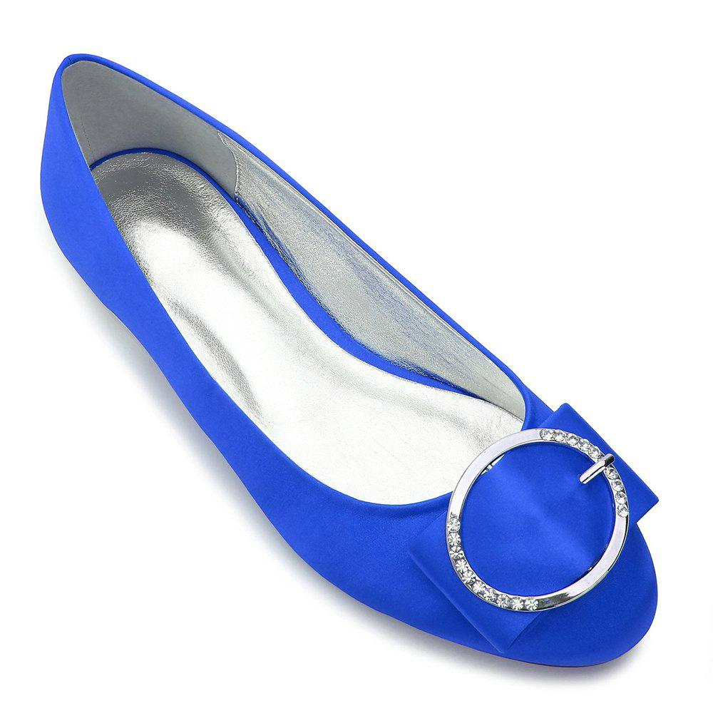 5049-31Women's Shoes Wedding Shoes Flat Heel - BLUE 36