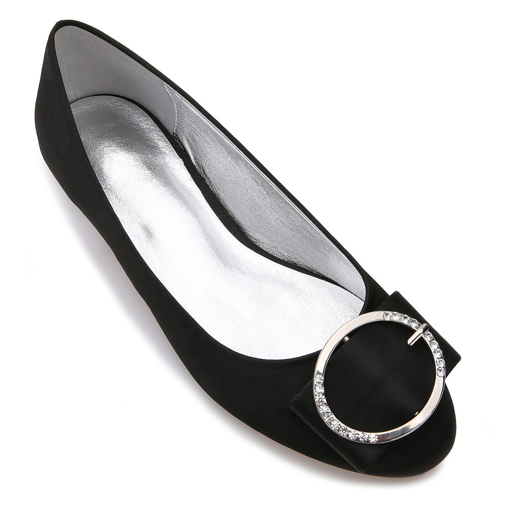 5049-31Women's Shoes Wedding Shoes Flat Heel - BLACK 42