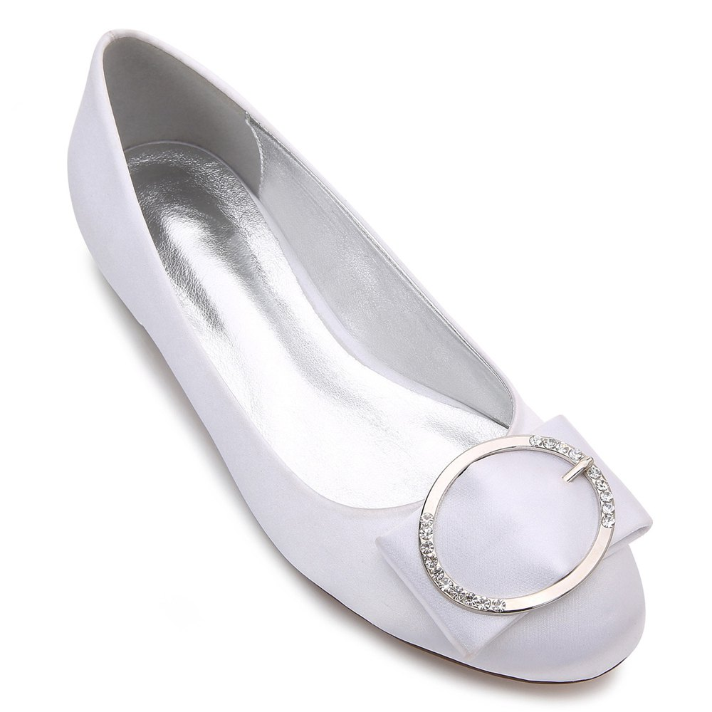 5049-31Women's Shoes Wedding Shoes Flat Heel - WHITE 38