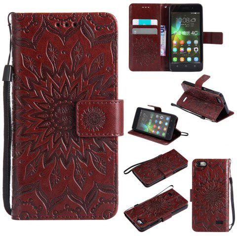 Sun Flower Printing Design Pu Leather Flip Wallet Lanyard Protective Case for Huawei Honor 4C - BROWN