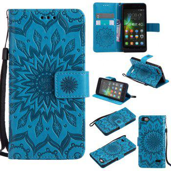 Sun Flower Printing Design Pu Leather Flip Wallet Lanyard Protective Case for Huawei Honor 4C - BLUE BLUE