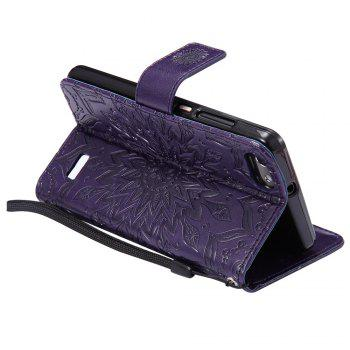 Sun Flower Printing Design Pu Leather Flip Wallet Lanyard Protective Case for Huawei Honor 4C - PURPLE